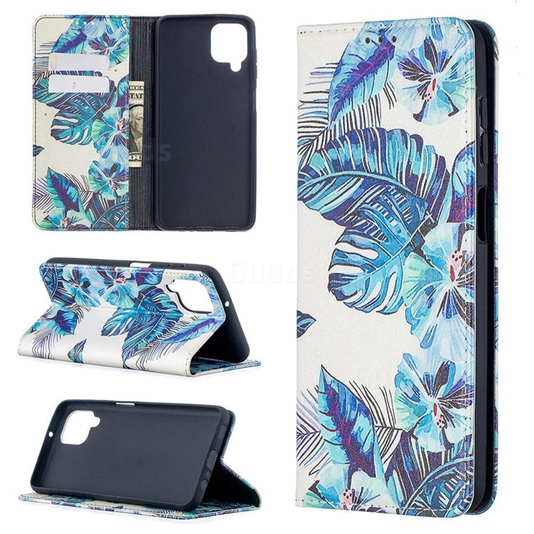 Blue Leaf Slim Magnetic Attraction Wallet Flip Cover for Samsung Galaxy A12
