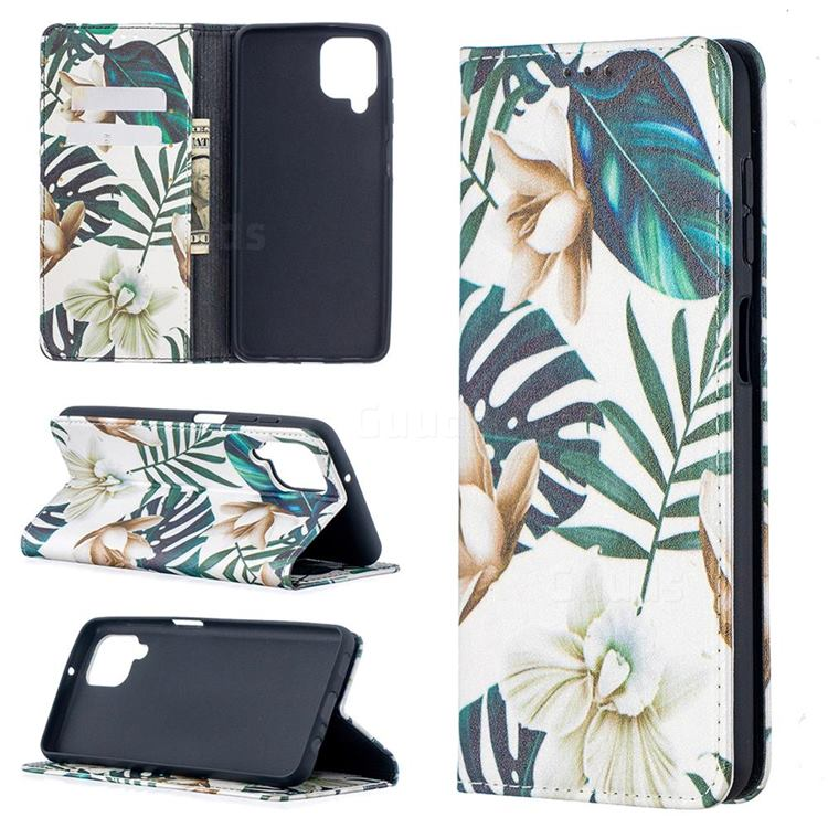 Flower Leaf Slim Magnetic Attraction Wallet Flip Cover for Samsung Galaxy A12