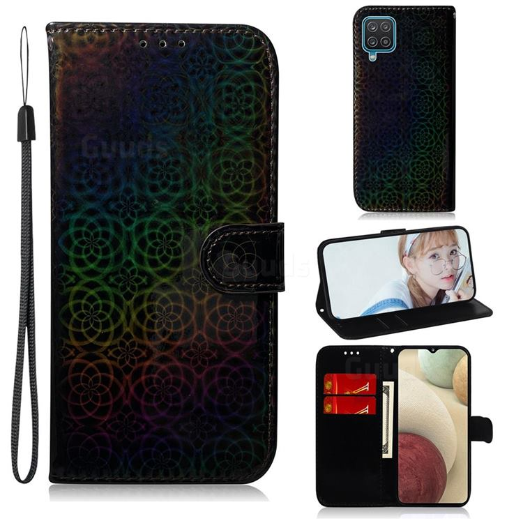 Laser Circle Shining Leather Wallet Phone Case for Samsung Galaxy A12 - Black