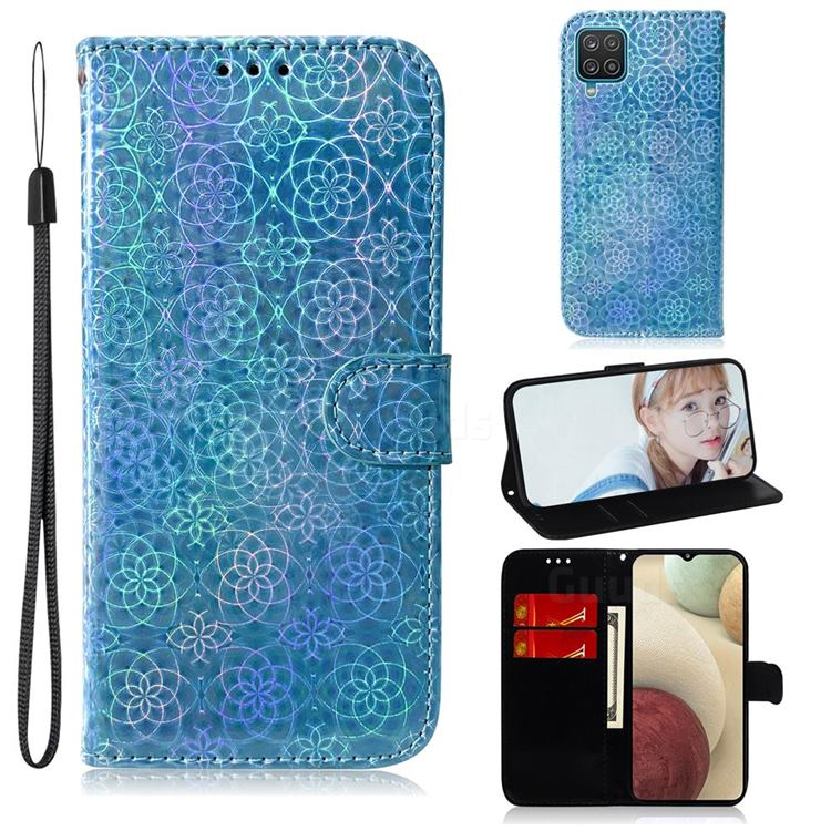 Laser Circle Shining Leather Wallet Phone Case for Samsung Galaxy A12 - Blue