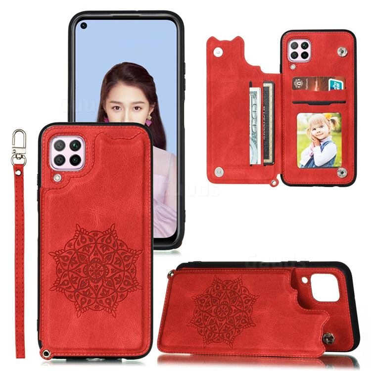 Luxury Mandala Multi-function Magnetic Card Slots Stand Leather Back Cover for Samsung Galaxy A12 - Red
