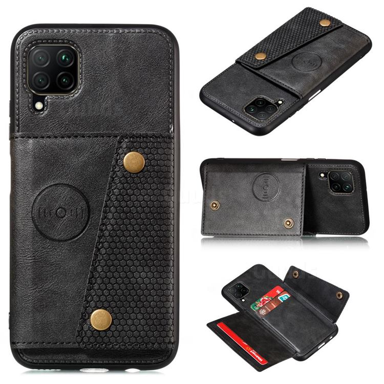 Retro Multifunction Card Slots Stand Leather Coated Phone Back Cover for Samsung Galaxy A12 - Black
