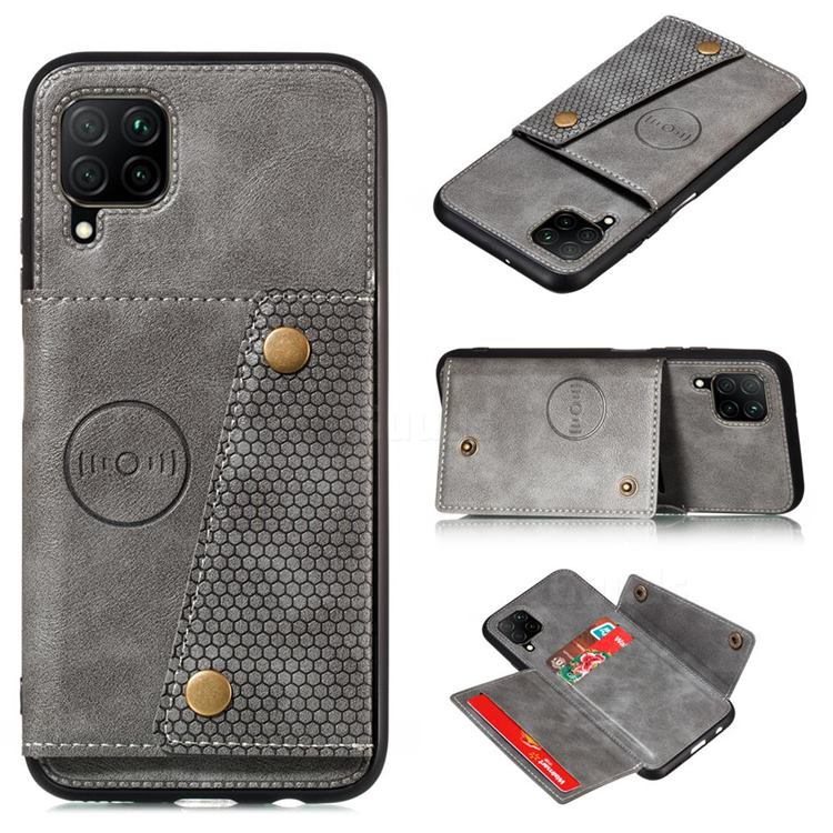 Retro Multifunction Card Slots Stand Leather Coated Phone Back Cover for Samsung Galaxy A12 - Gray