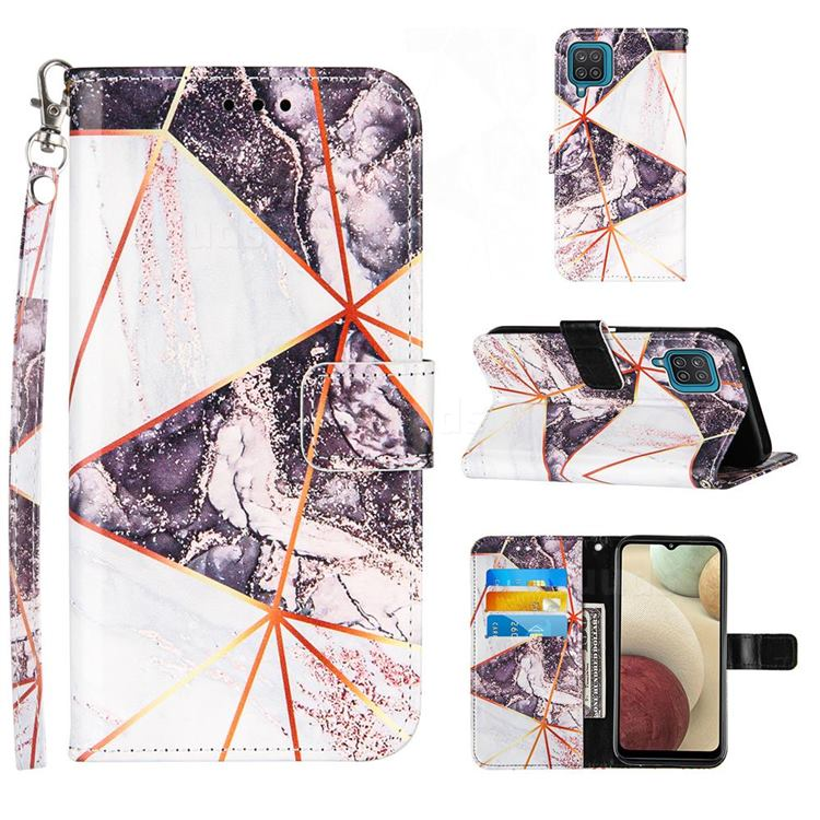 Black and White Stitching Color Marble Leather Wallet Case for Samsung Galaxy A12