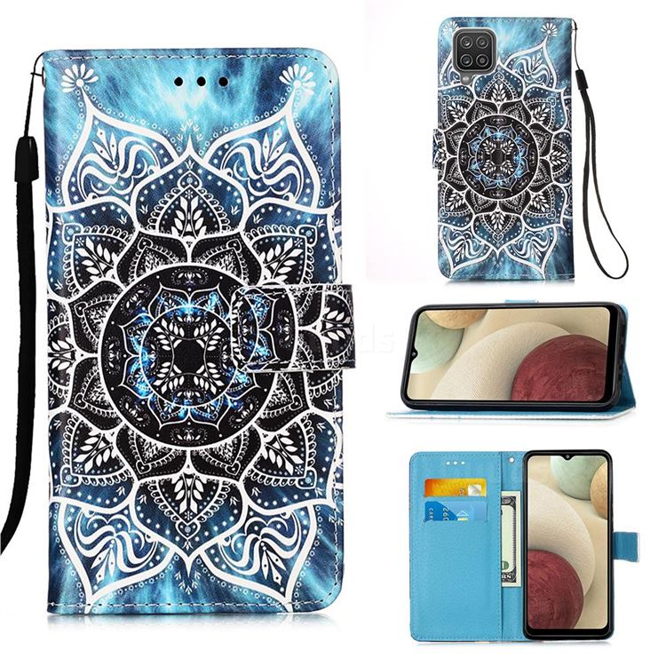 Underwater Mandala Matte Leather Wallet Phone Case for Samsung Galaxy A12