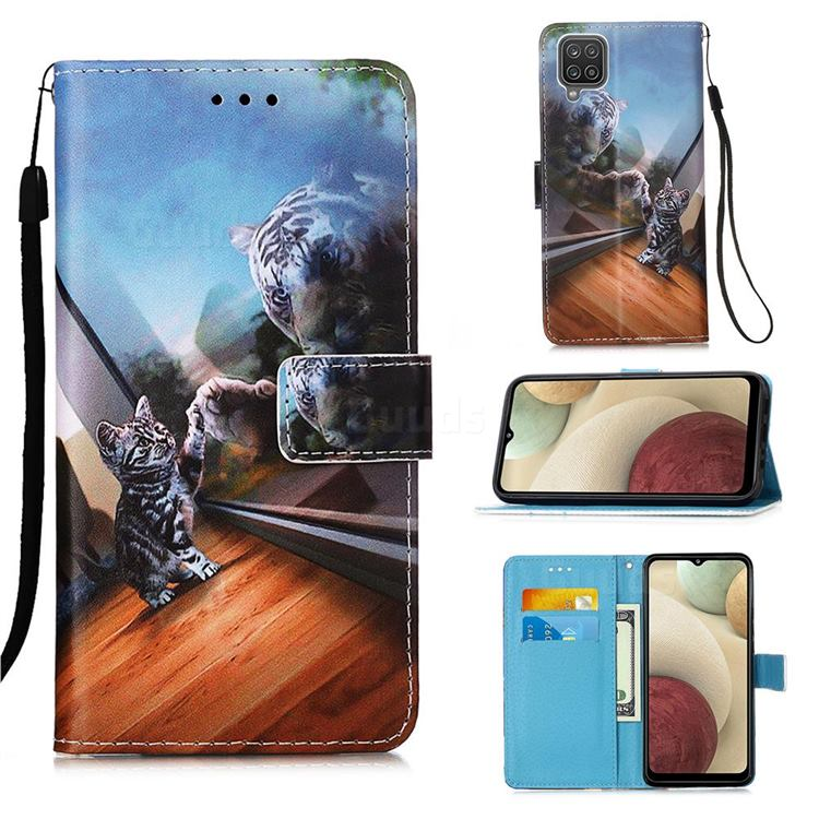 Mirror Cat Matte Leather Wallet Phone Case for Samsung Galaxy A12