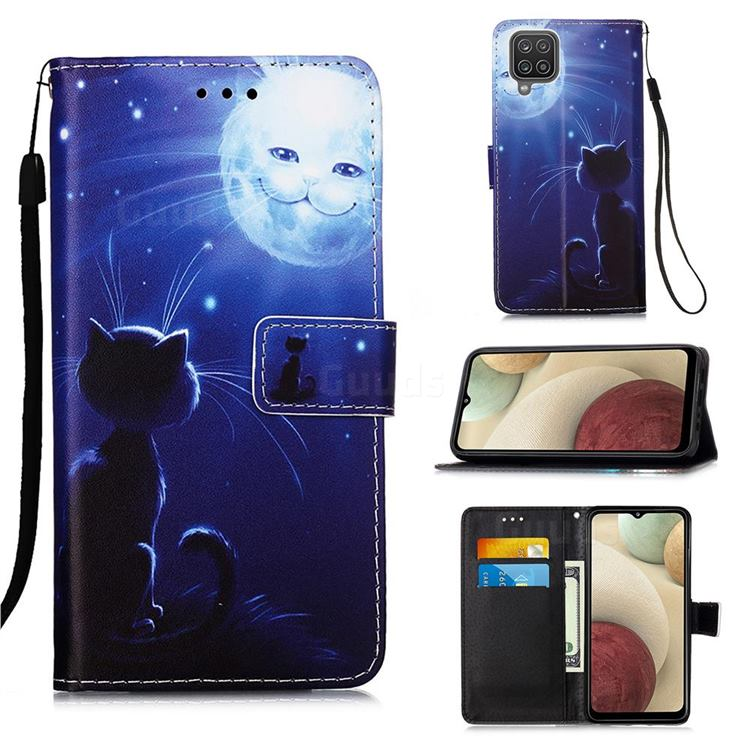 Cat and Moon Matte Leather Wallet Phone Case for Samsung Galaxy A12