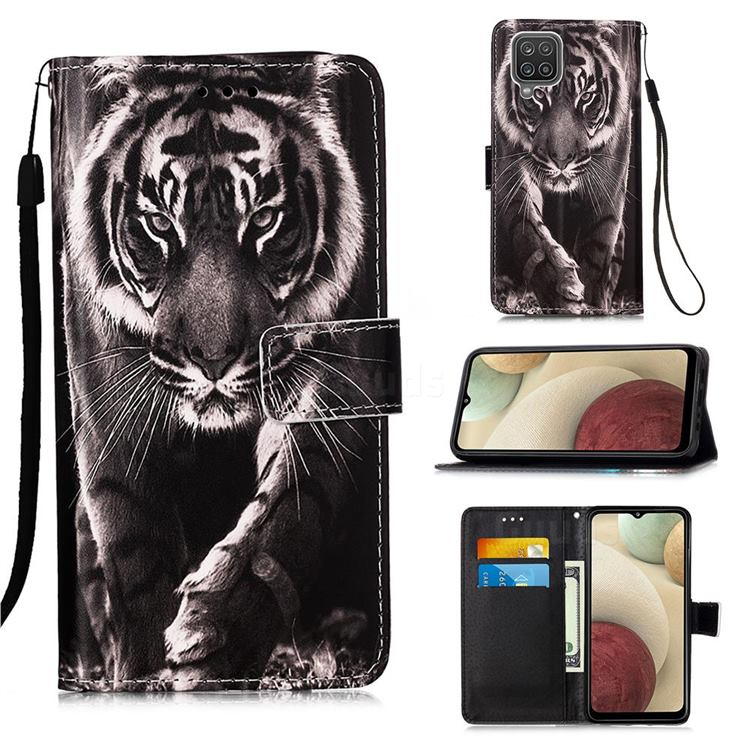 Black and White Tiger Matte Leather Wallet Phone Case for Samsung Galaxy A12