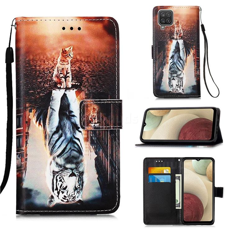 Cat and Tiger Matte Leather Wallet Phone Case for Samsung Galaxy A12