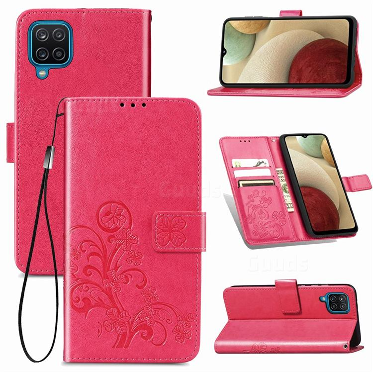 Embossing Imprint Four-Leaf Clover Leather Wallet Case for Samsung Galaxy A12 - Rose Red