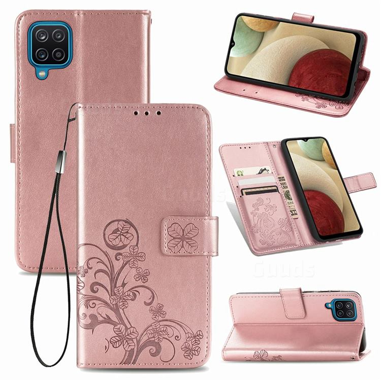 Embossing Imprint Four-Leaf Clover Leather Wallet Case for Samsung Galaxy A12 - Rose Gold