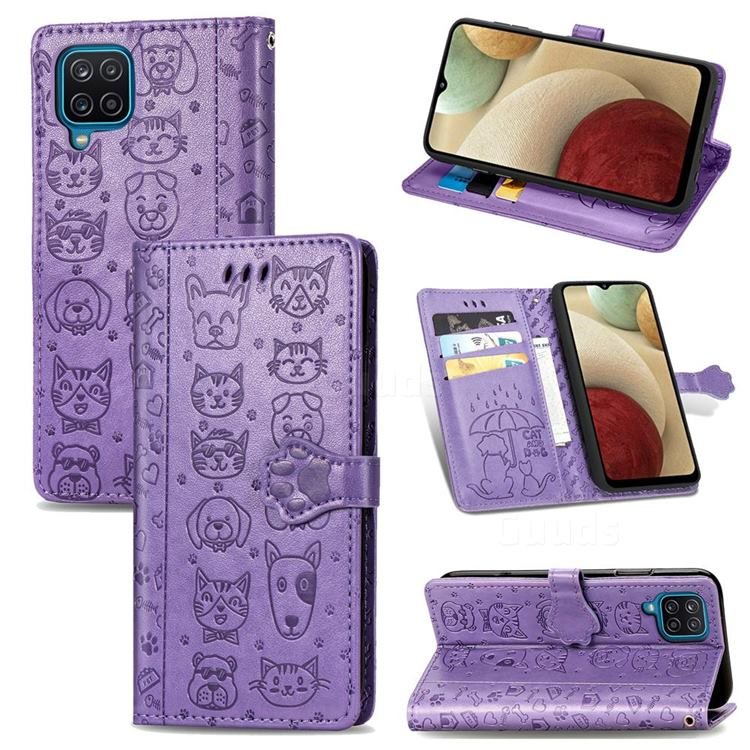 Embossing Dog Paw Kitten and Puppy Leather Wallet Case for Samsung Galaxy A12 - Purple