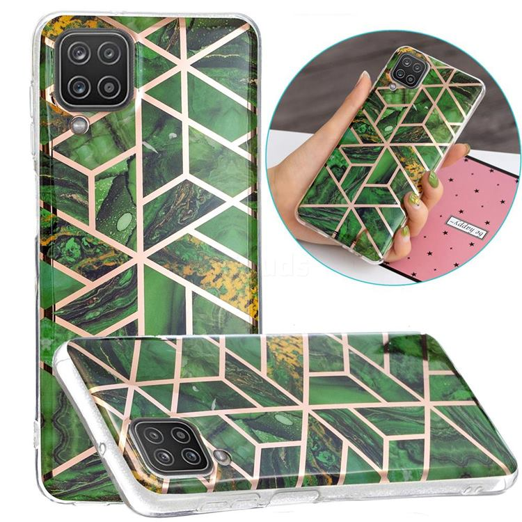 Green Rhombus Galvanized Rose Gold Marble Phone Back Cover for Samsung Galaxy A12
