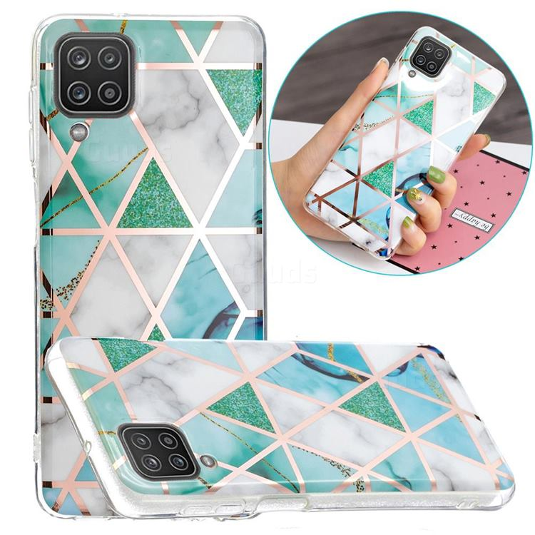 Green White Galvanized Rose Gold Marble Phone Back Cover for Samsung Galaxy A12