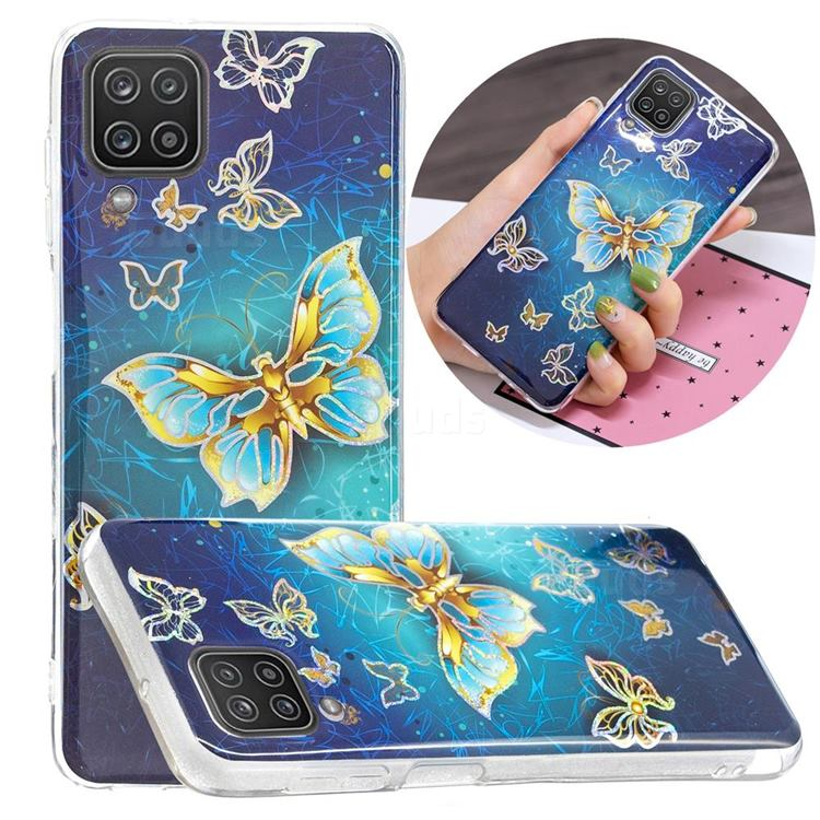 Golden Butterfly Painted Galvanized Electroplating Soft Phone Case Cover for Samsung Galaxy A12