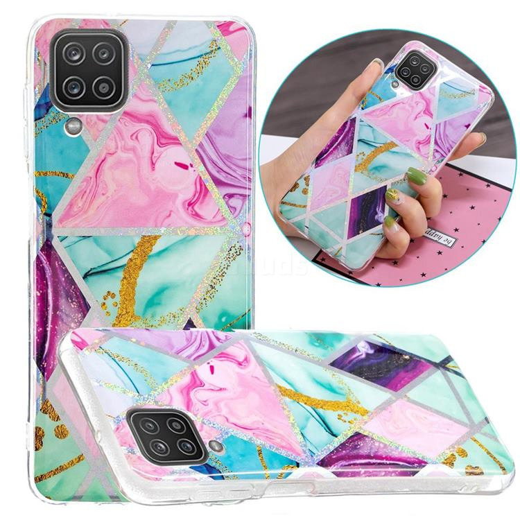 Triangular Marble Painted Galvanized Electroplating Soft Phone Case Cover for Samsung Galaxy A12