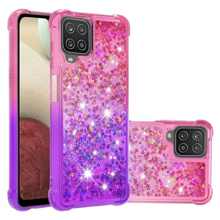 Rainbow Gradient Liquid Glitter Quicksand Sequins Phone Case for Samsung Galaxy A12 - Pink Purple