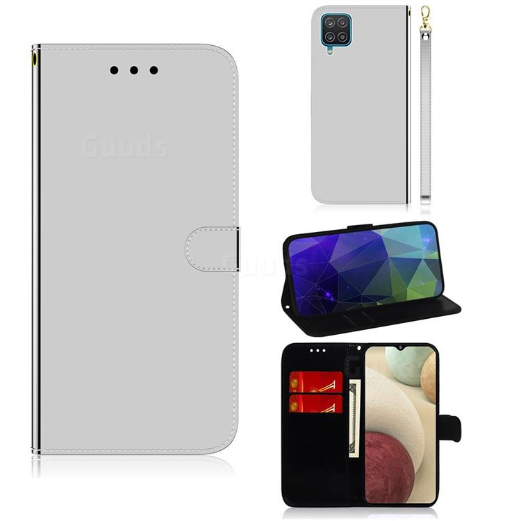 Shining Mirror Like Surface Leather Wallet Case for Samsung Galaxy A12 - Silver