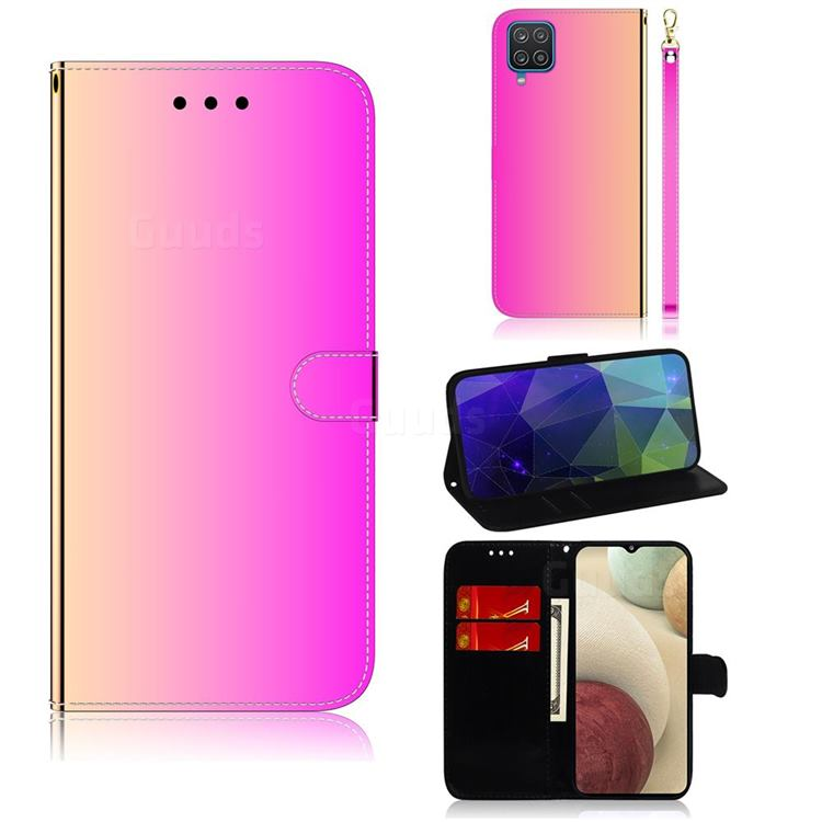 Shining Mirror Like Surface Leather Wallet Case for Samsung Galaxy A12 - Rainbow Gradient