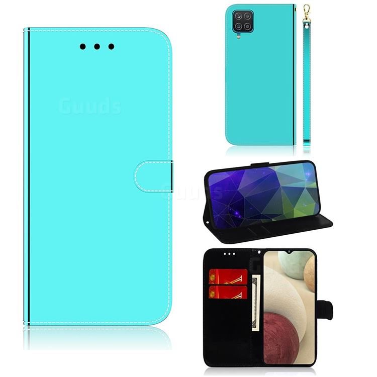 Shining Mirror Like Surface Leather Wallet Case for Samsung Galaxy A12 - Mint Green