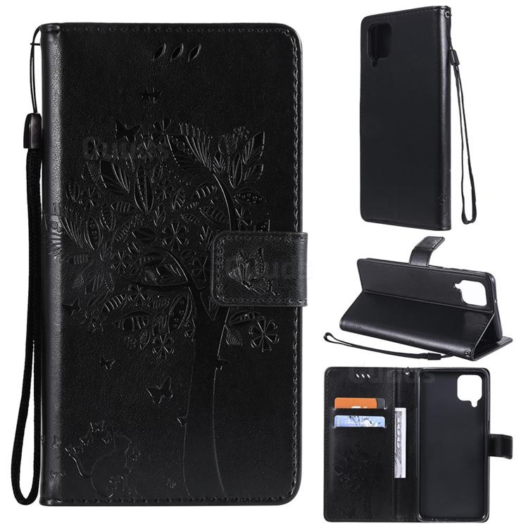Embossing Butterfly Tree Leather Wallet Case for Samsung Galaxy A12 - Black