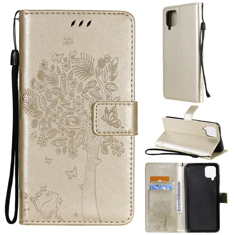 Embossing Butterfly Tree Leather Wallet Case for Samsung Galaxy A12 - Champagne