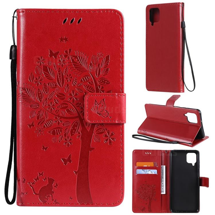 Embossing Butterfly Tree Leather Wallet Case for Samsung Galaxy A12 - Red