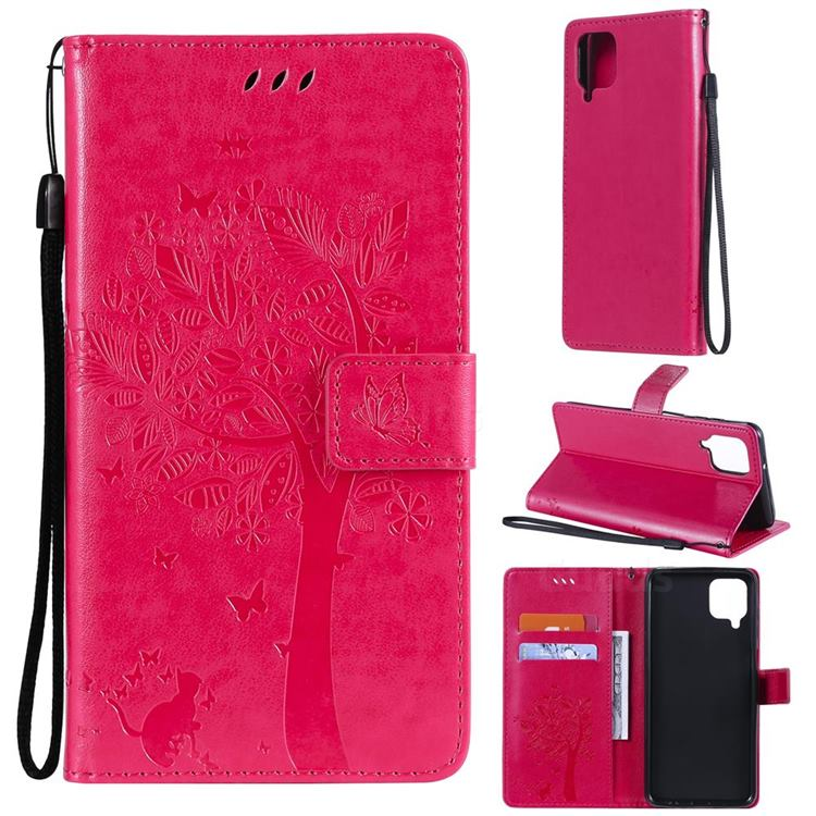 Embossing Butterfly Tree Leather Wallet Case for Samsung Galaxy A12 - Rose