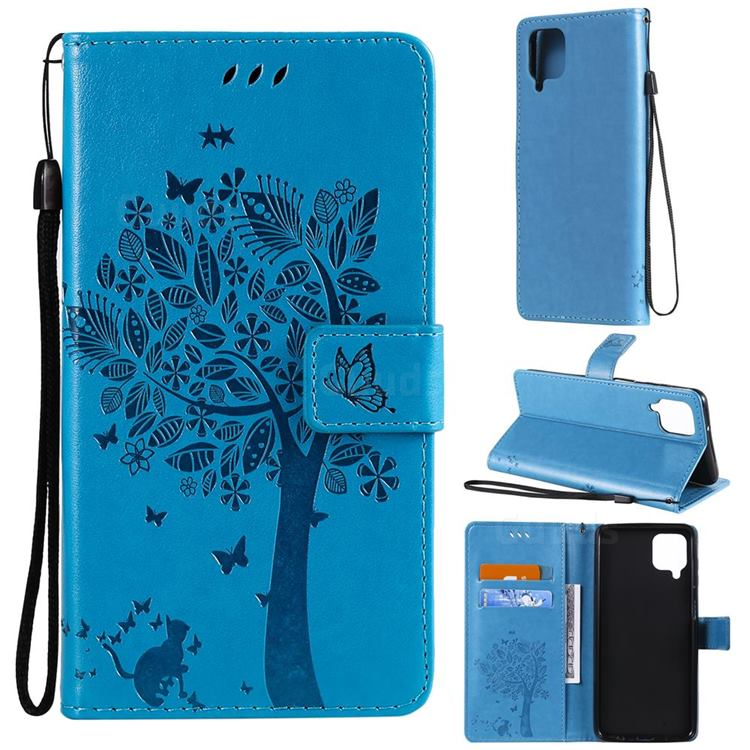 Embossing Butterfly Tree Leather Wallet Case for Samsung Galaxy A12 - Blue