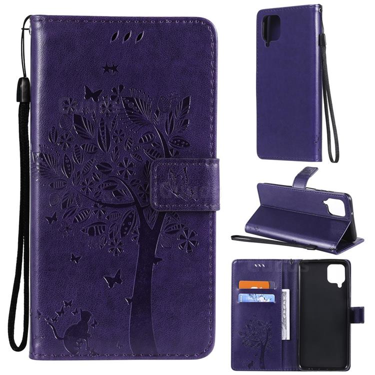 Embossing Butterfly Tree Leather Wallet Case for Samsung Galaxy A12 - Purple