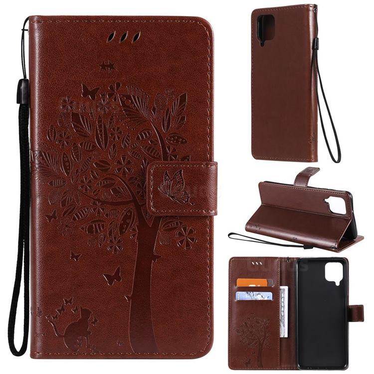 Embossing Butterfly Tree Leather Wallet Case for Samsung Galaxy A12 - Coffee