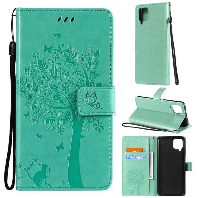 Embossing Butterfly Tree Leather Wallet Case for Samsung Galaxy A12 - Cyan