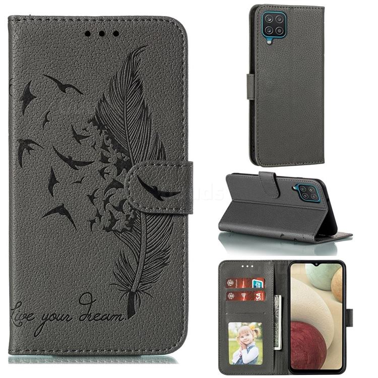 Intricate Embossing Lychee Feather Bird Leather Wallet Case for Samsung Galaxy A12 - Gray