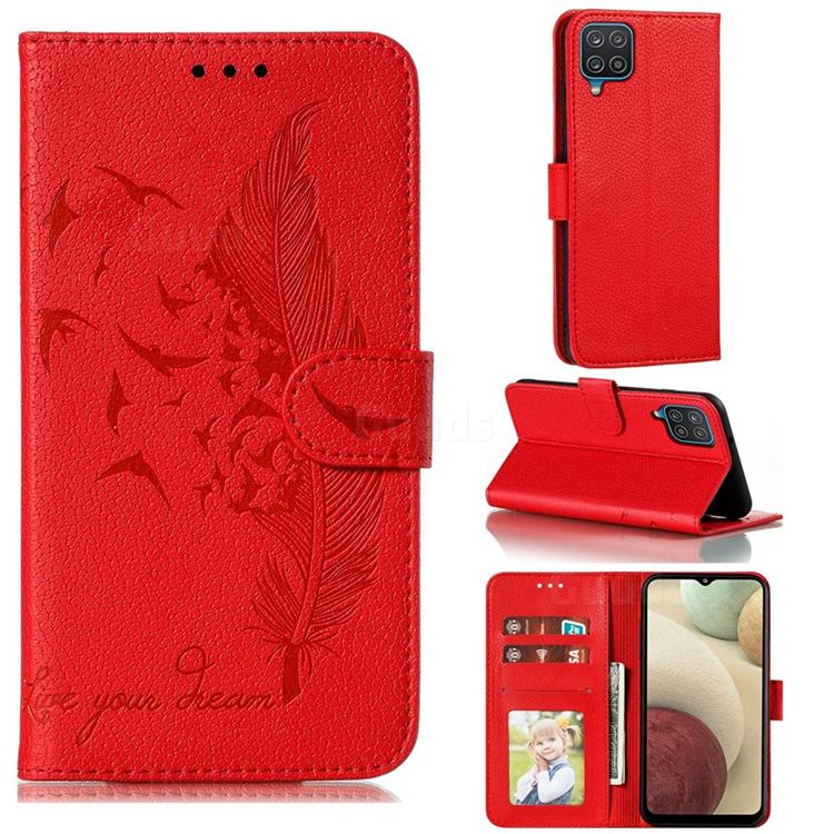 Intricate Embossing Lychee Feather Bird Leather Wallet Case for Samsung Galaxy A12 - Red