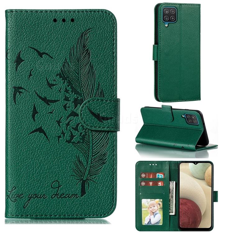 Intricate Embossing Lychee Feather Bird Leather Wallet Case for Samsung Galaxy A12 - Green