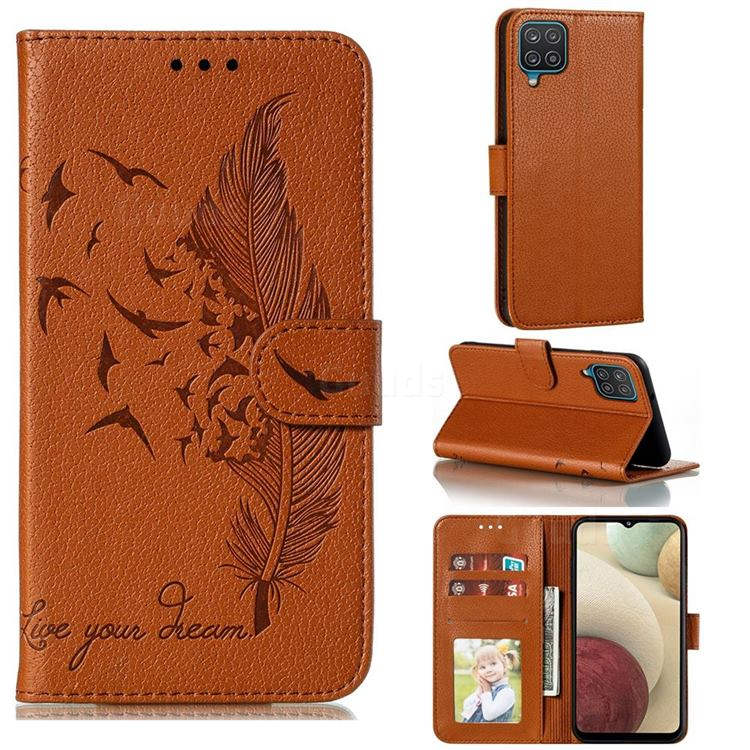 Intricate Embossing Lychee Feather Bird Leather Wallet Case for Samsung Galaxy A12 - Brown