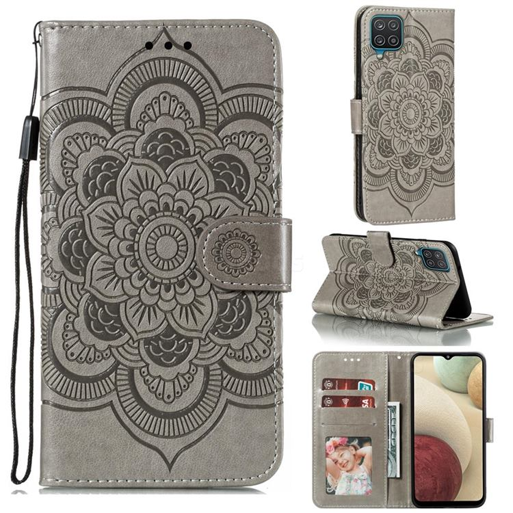 Intricate Embossing Datura Solar Leather Wallet Case for Samsung Galaxy A12 - Gray