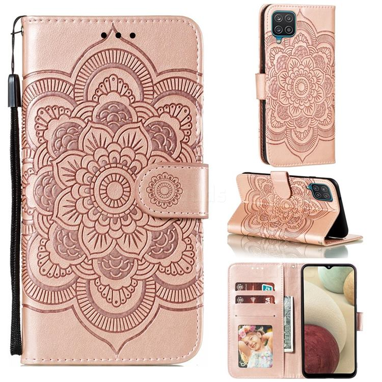 Intricate Embossing Datura Solar Leather Wallet Case for Samsung Galaxy A12 - Rose Gold