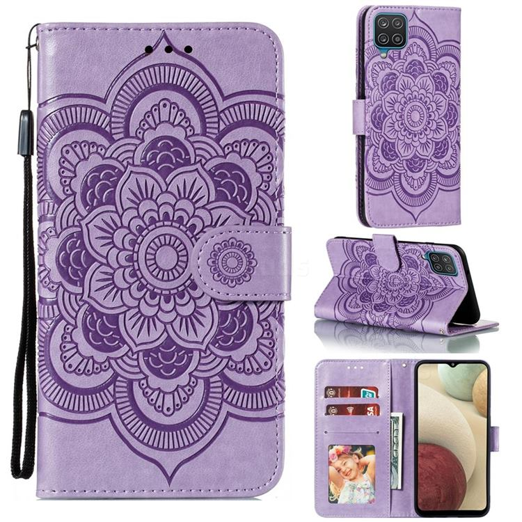 Intricate Embossing Datura Solar Leather Wallet Case for Samsung Galaxy A12 - Purple