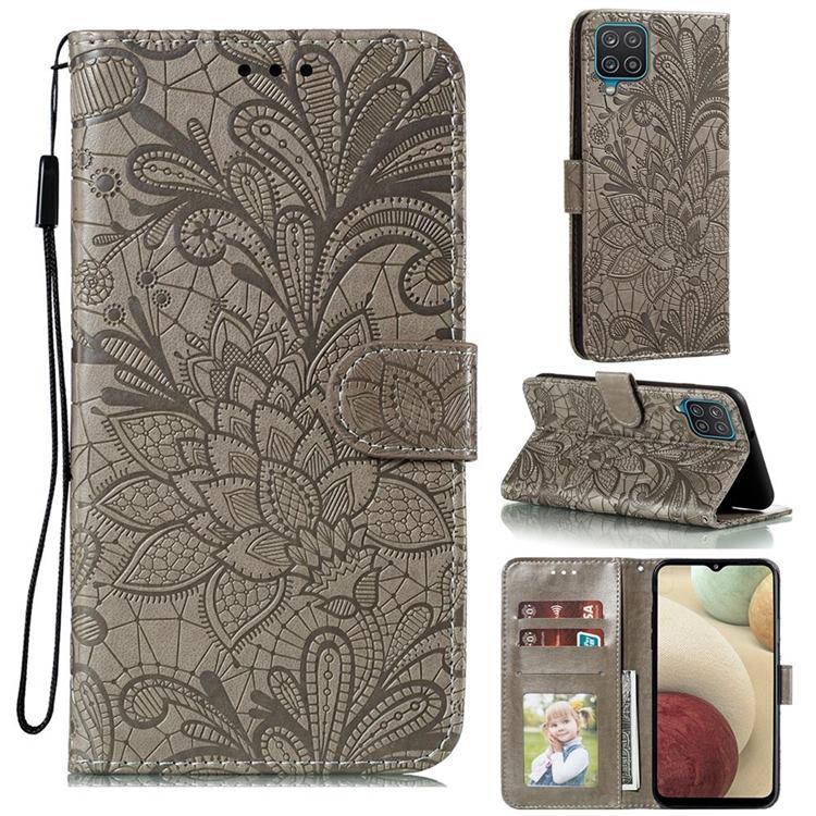 Intricate Embossing Lace Jasmine Flower Leather Wallet Case for Samsung Galaxy A12 - Gray