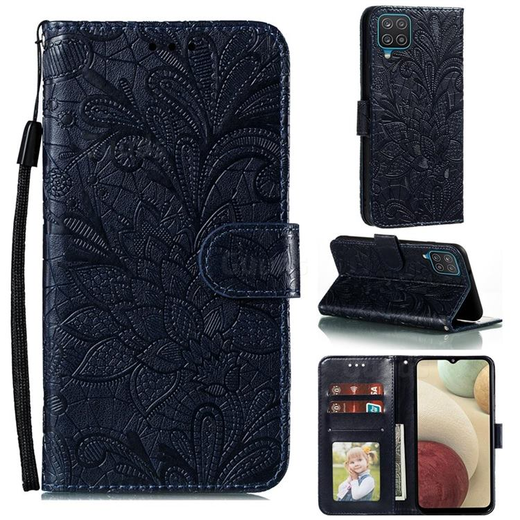 Intricate Embossing Lace Jasmine Flower Leather Wallet Case for Samsung Galaxy A12 - Dark Blue