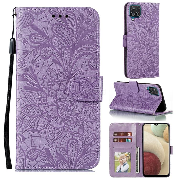 Intricate Embossing Lace Jasmine Flower Leather Wallet Case for Samsung Galaxy A12 - Purple