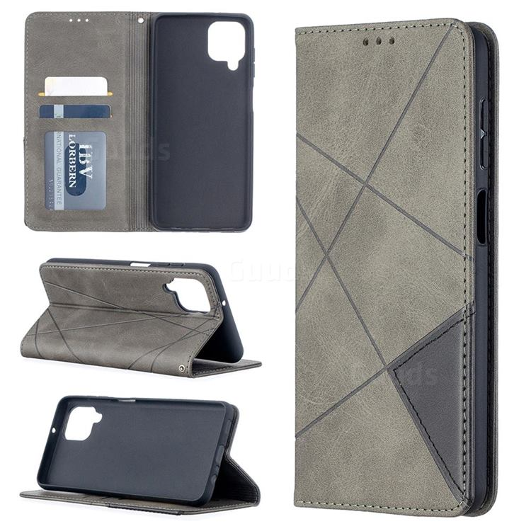 Prismatic Slim Magnetic Sucking Stitching Wallet Flip Cover for Samsung Galaxy A12 - Gray