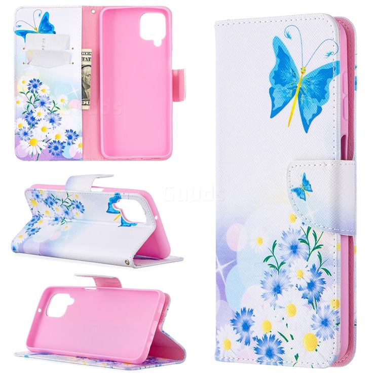 Butterflies Flowers Leather Wallet Case for Samsung Galaxy A12