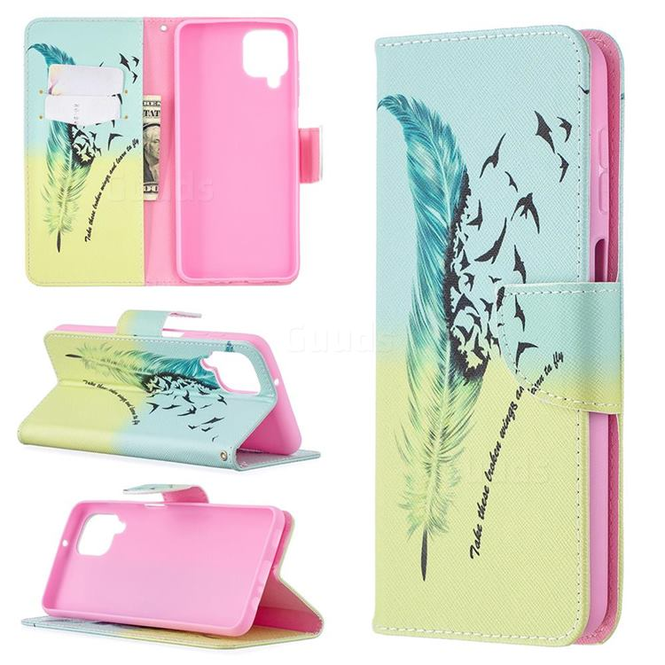 Feather Bird Leather Wallet Case for Samsung Galaxy A12