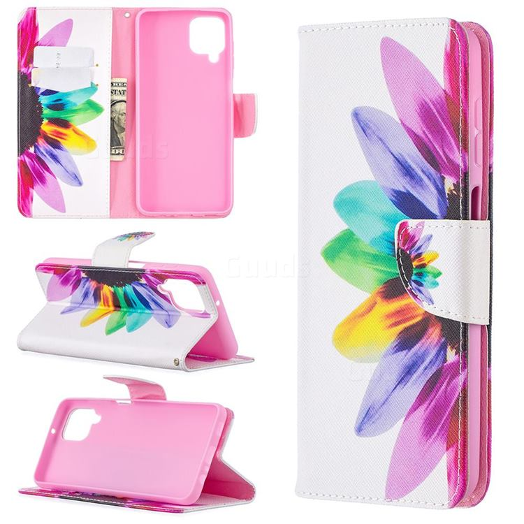 Seven-color Flowers Leather Wallet Case for Samsung Galaxy A12