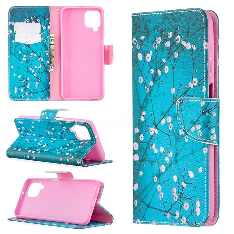 Blue Plum Leather Wallet Case for Samsung Galaxy A12