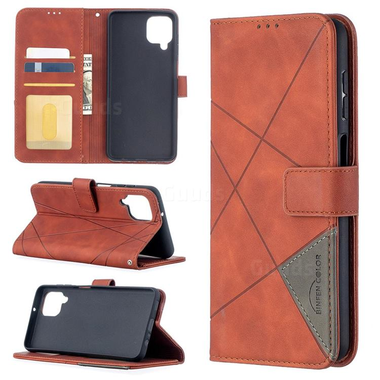 Binfen Color BF05 Prismatic Slim Wallet Flip Cover for Samsung Galaxy A12 - Brown