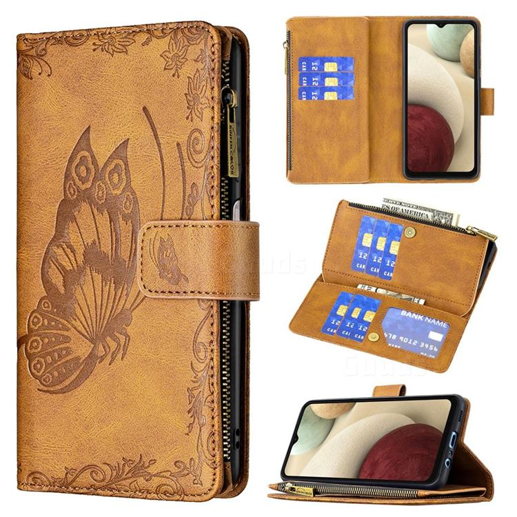 Binfen Color Imprint Vivid Butterfly Buckle Zipper Multi-function Leather Phone Wallet for Samsung Galaxy A12 - Brown