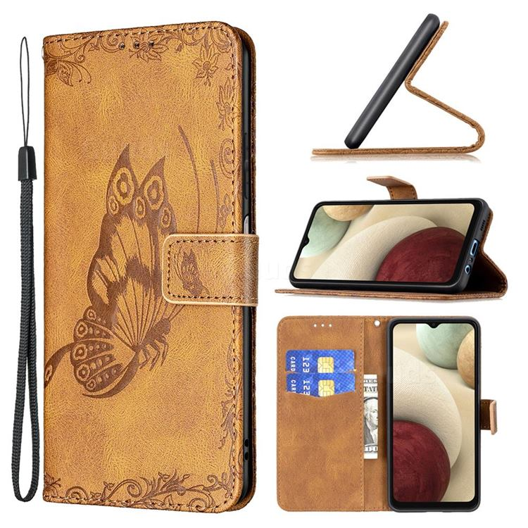 Binfen Color Imprint Vivid Butterfly Leather Wallet Case for Samsung Galaxy A12 - Brown